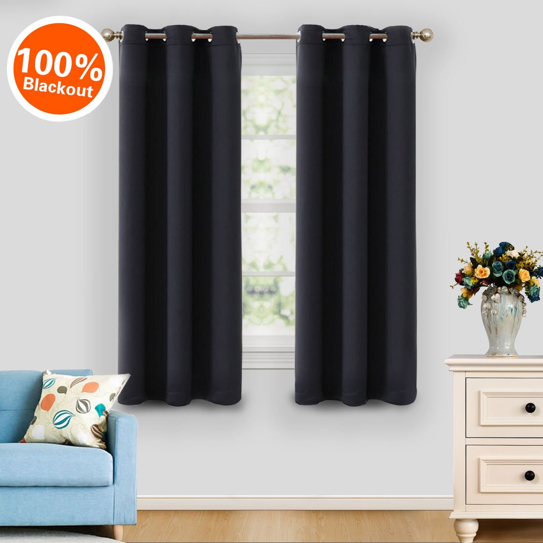 MASVIS Blackout Curtains Thermal Insulated Grommet Drapes for Bedroom