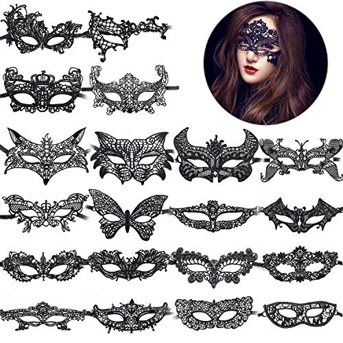 Hub's Gadget 20 Pieces Lace Mask Masquerade, Venetian Eyemask Sexy Lady Lace Mask for Halloween Carnival Party Ball Costume, Black]()