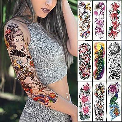 tzxdbh Gran Brazo Manga Tatuaje japonés Geisha Serpiente ...