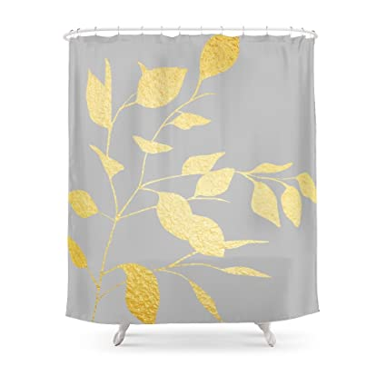 Society6 Gold Grey Leaves Shower Curtain 71quot