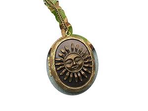 Large Sun Locket Necklace, Ocean Beach Solar Planet Jewelry Statement Necklace Sun Face ,