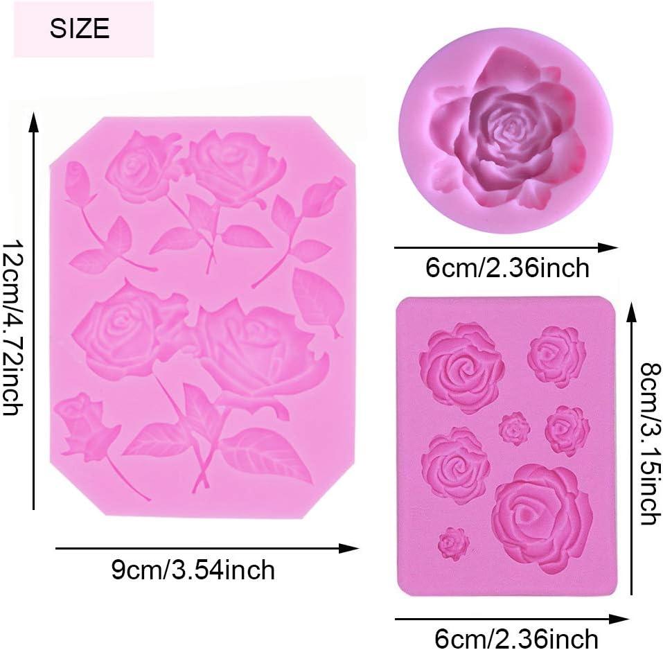 SUNSK Silikon Fondant Kuchen Formen 3D Rosen Blumen Silikonformen Schokoladenformen DIY Kuchen S/ü/ßigkeiten Gelee Backformen Tortedeko 3 St/ück