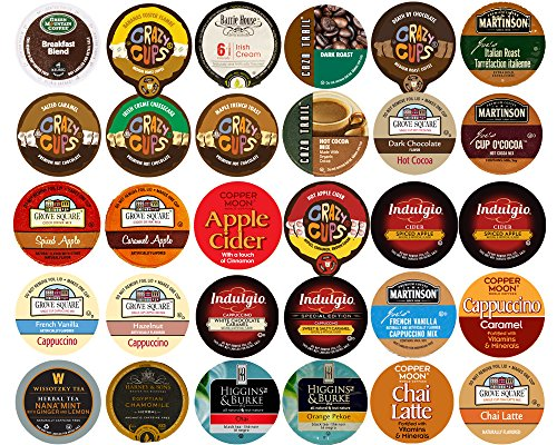 60-count Top Brand Coffee, Tea, Cider, Hot Cocoa and Cappuccino K-Cup Variety Sampler Pack, Single-Serve Cups for Keurig Brewers