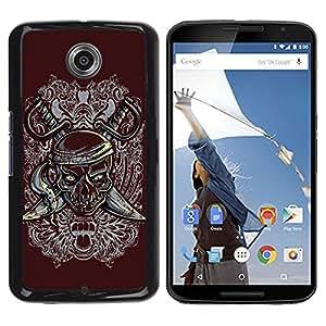 LASTONE PHONE CASE / Diseño de Delgado Duro PC / Aluminio Caso Carcasa Funda para Motorola NEXUS 6 / X / Moto X Pro / Pirate Skull & Swords Crest