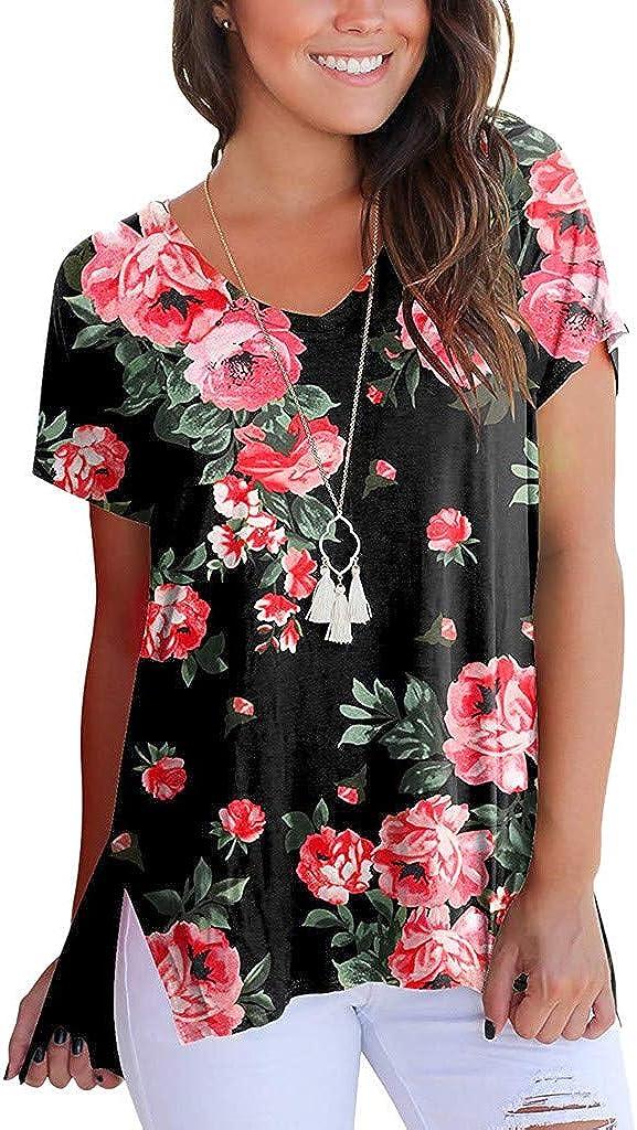 Randolly Women Tops,Short Sleeve V-Neck Floral Printed Loose Casual Side Split T-Shirt Tops
