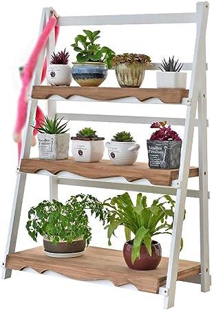 CHENGXI-Flower stand HJ0821 - Soporte Vertical para Plantas (Madera de Pino): Amazon.es: Jardín