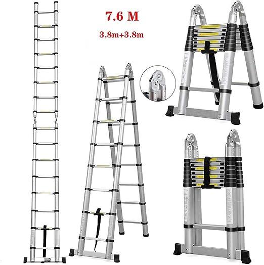 TIZI000 Escalera Telescópica Telescópico Extensible Escalera de Mano Aluminio Extensión (3.8 + 3.8M) De múltiples Fines Plegable Escalera Loft: Amazon.es: Hogar