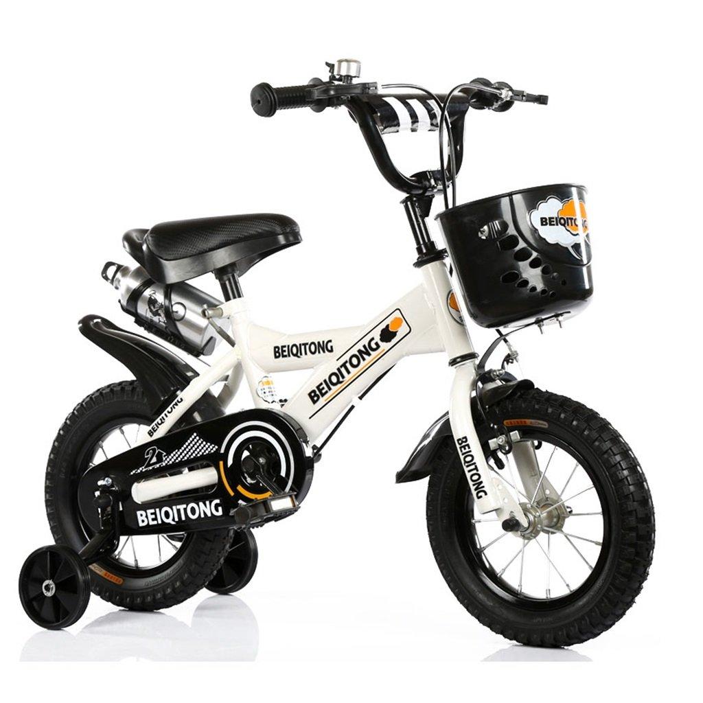 子供の自転車12|14|16|18|20インチ屋外の子供の赤ちゃんキッドマウンテンバイク黒のトレーニングホイールで2歳から11歳の男の子の女の子の贈り物|プラスチックバスケット|ウォーターボトルセーフホワイト B078JMB6NN16 inches