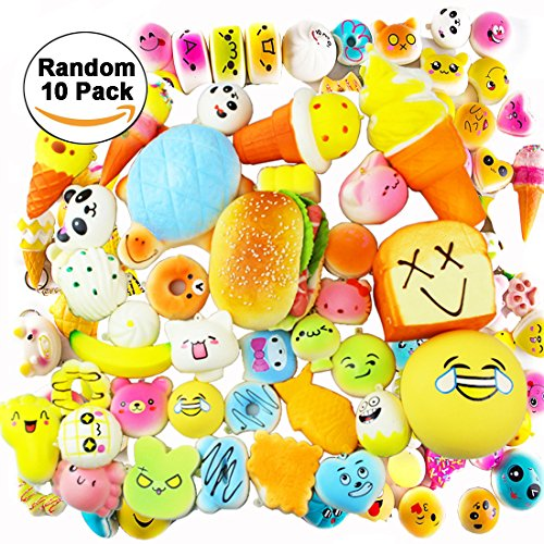 10 Pack Set Slow Rising Squishies Jumbo,Slow Rising Soft Squishy Squeeze Charms Toy for Stress Relief and Time Killing Soft Squishy Charms Toy for Stress Relief (Gross Halloween Food Tricks)