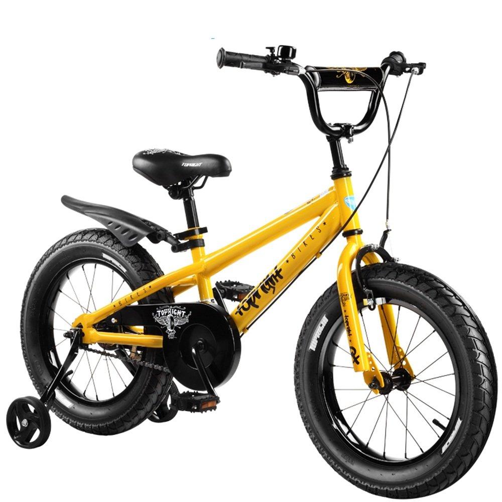 HAIZHEN マウンテンバイク 16インチ、18インチ、子供用ギフト、キッズバイク、ボーイのバイク、ガールズバイク 新生児 B07C41Q8G2 16 inch|イエロー いえろ゜ イエロー いえろ゜ 16 inch
