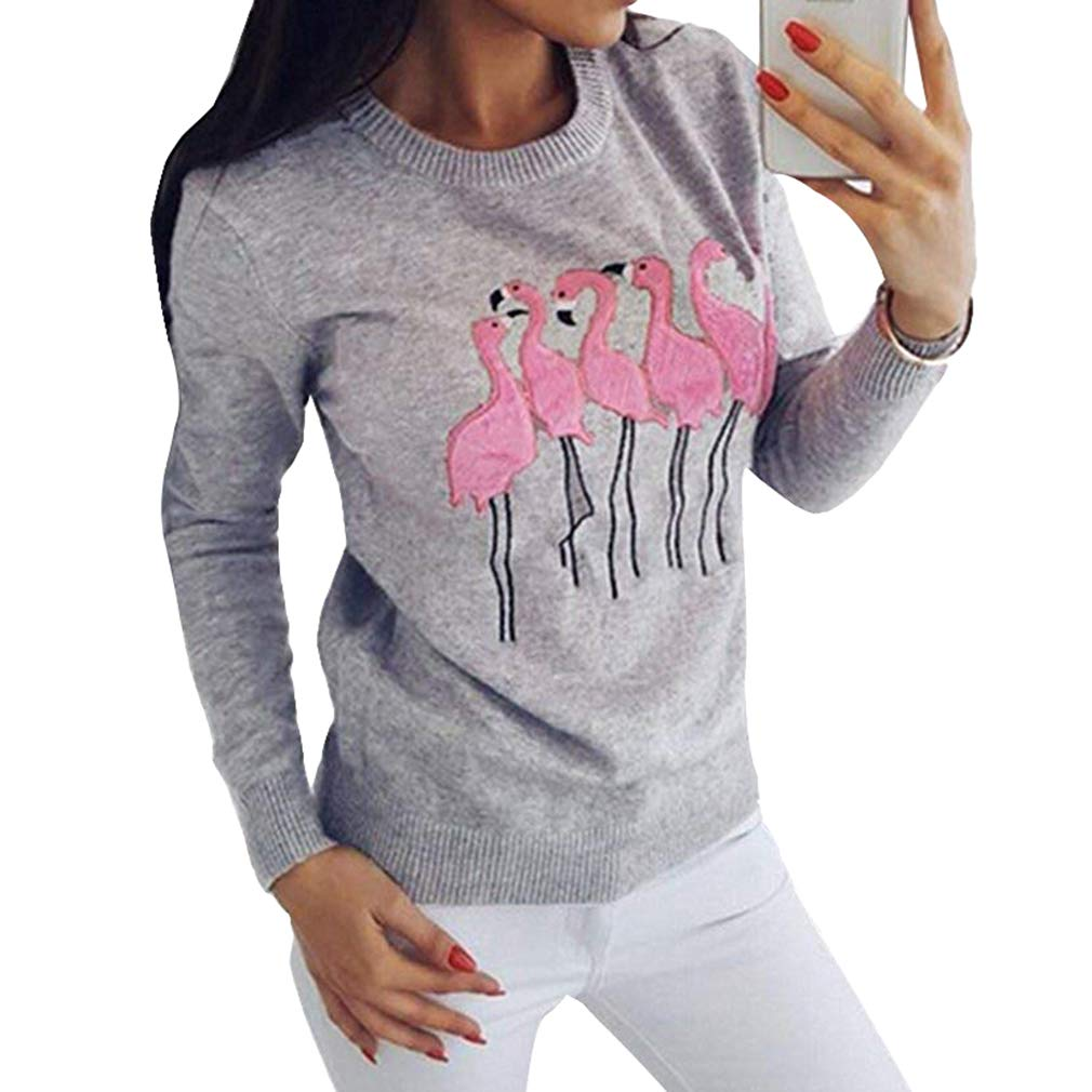 Women Sweatshirt Flamingo Embroidered Pattern Long Sleeves Jumper Round Collar Pullover Blouse Tops S-XL