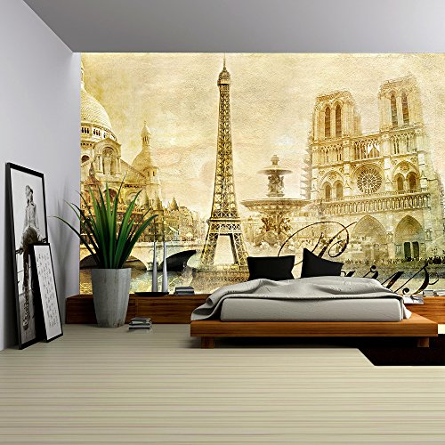 Cheap  wall26 - Amazing Paris - Vintage Clipart - Removable Wall Mural |..