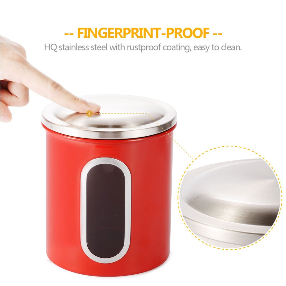 Kitchen Canisters,Stainless Steel Canister Set,3 Piece Nested Food Storage Canisters with Airtight Lids and Visible Windows,Red