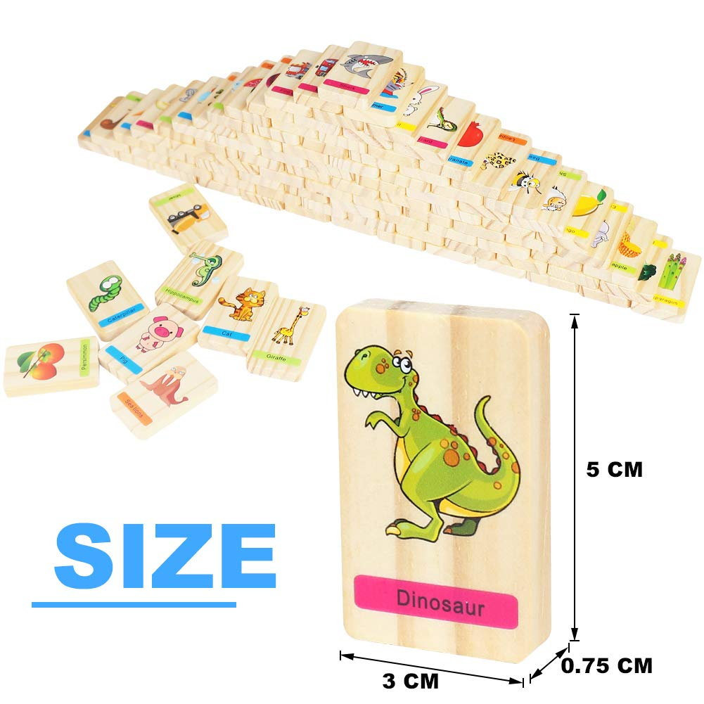 Holz Memory Domino Wild Animals Thema mit Aufbewahrungsbox Passende Play Puzzle Spiel für Kid 345Jahren (32Stück)