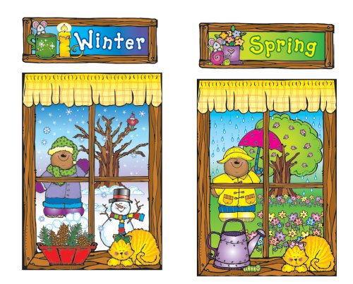 Carson Dellosa D.J. Inkers Four Seasons Windows Bulletin Board Set (610038)