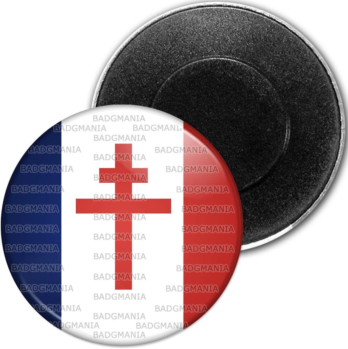 Badgmania Magnet Aimant Frigo 5.9 cm Drapeau France Libre Croix de Lorraine R/ésistance CDG