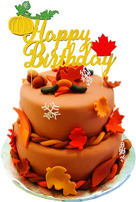 Astonishing Jevenis Glitter Pumpkin Cake Topper Maple Happy Birthday Cake Personalised Birthday Cards Veneteletsinfo