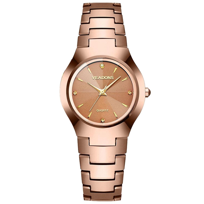 veadons Gold Damen wasserabweisend Edelstahl Quarz Armbanduhr