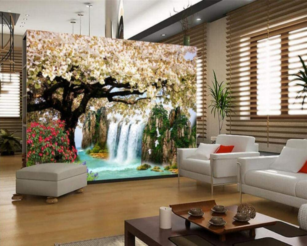 Amazon Com Modern Home Interior Wallpaper Hd Waterfall Cherry Landscape Painting Background Wall Paper Wall 3 D Home Improvement