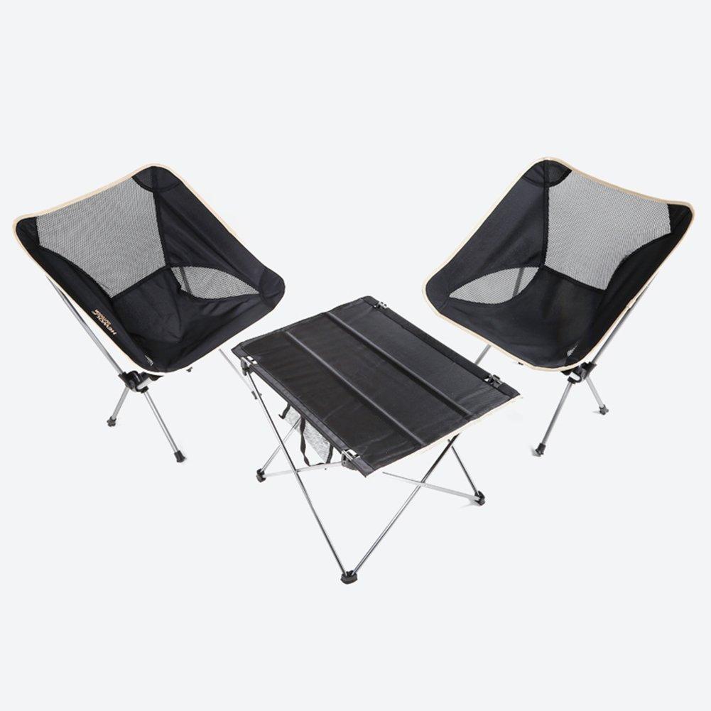 QIANGDA 屋外/アウトドア 折りたたみ テーブル椅子 3セット アルミニウム合金 多機能 軽量 ポータブル 釣り、 M/L オプション (サイズ さいず : M) B07CTMVBRD   M