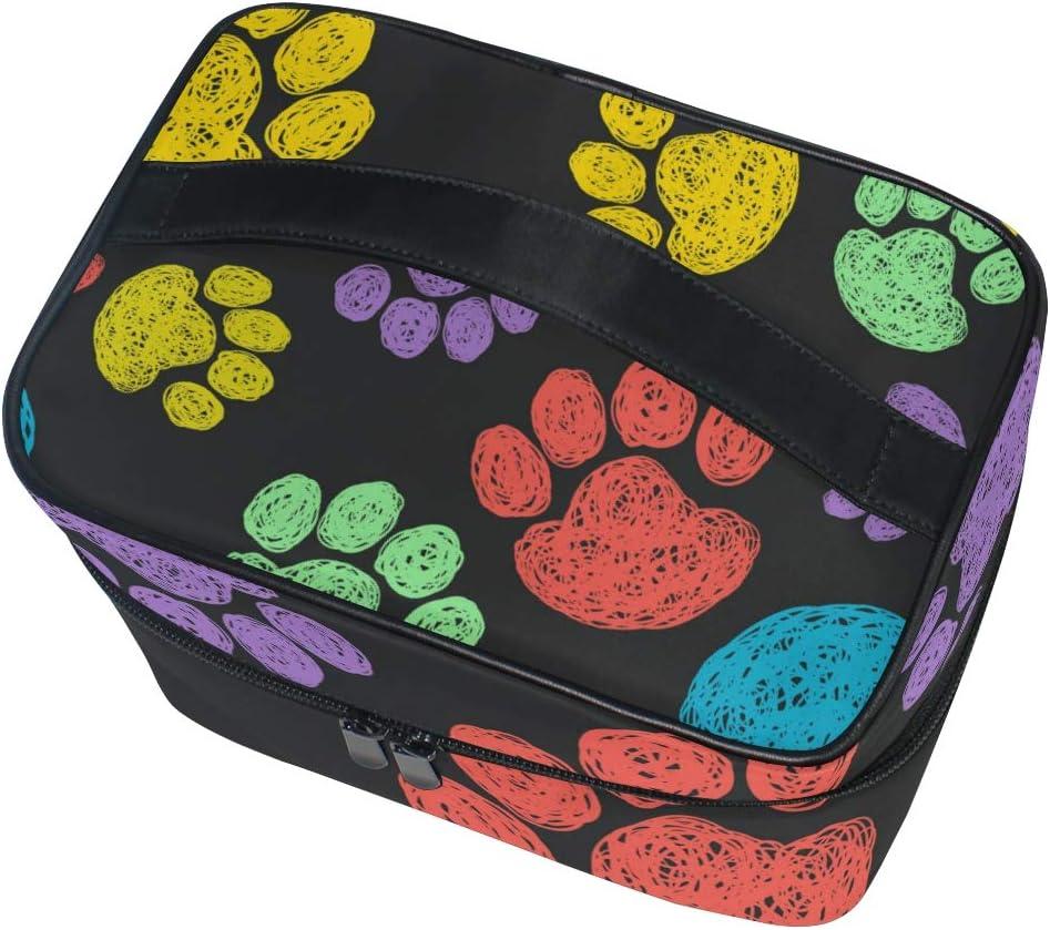 FANTAZIO bolsa de maquillaje barato colorido gato perro patas huellas patrón maquillaje organizador: Amazon.es: Belleza