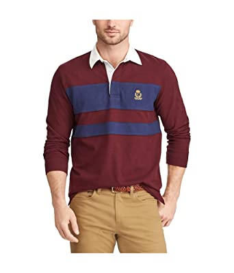 b6125b3730e Chaps Mens Striped Rugby Polo Shirt Red L at Amazon Men's Clothing store: