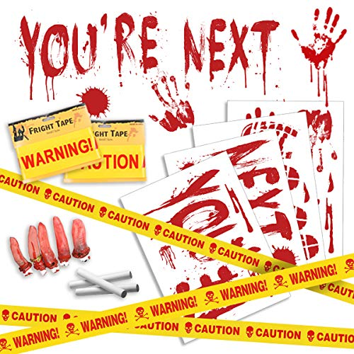 Decorating Your Garage For A Halloween Party (Pawliss Halloween Crime Scene Party Decorations 14 Pack Kit, Haunted House Bloody Zombie Decor, Caution Tape, Body Silhouette, Bloody Handprints Footprints Wall Decals Window)