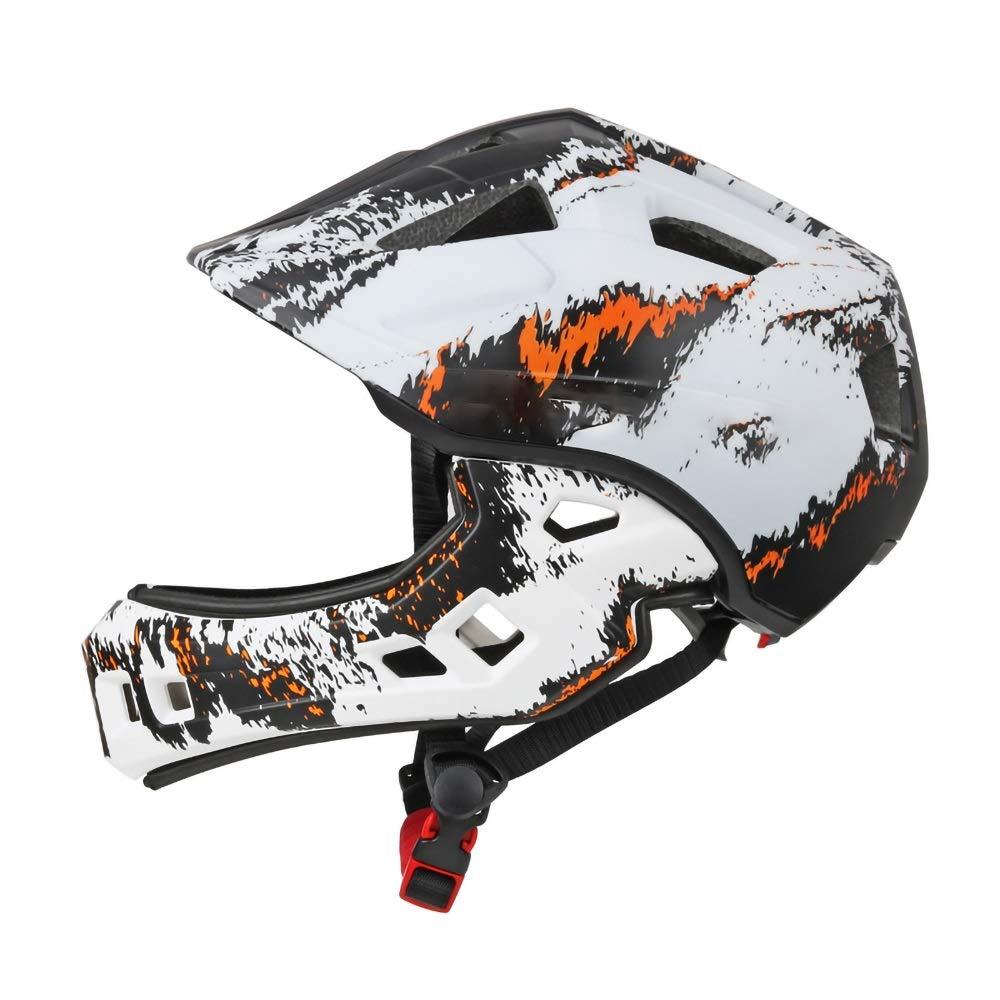 6つの素晴らしいデザインのキッズサイクルヘルメット - サイクリング、スケート、スクーティング用 - 調節可能なヘッドバンドベントデザイン - 4、5、6、7、8、9、10、11歳のお子様に最適(52-56cm用) (Color : White)   B07R4CN8VS