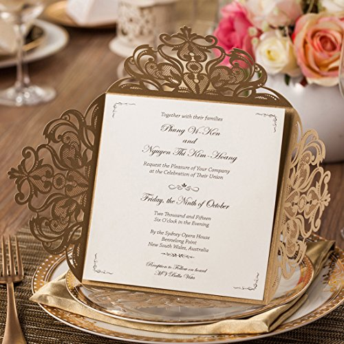 WISHMADE Gold Laser Cut Wedding Invitations Card Envelopes Kit with Hollow Flora Square Lace Pocket for Marriage Engagement Baby Shower Birthday Party (50)