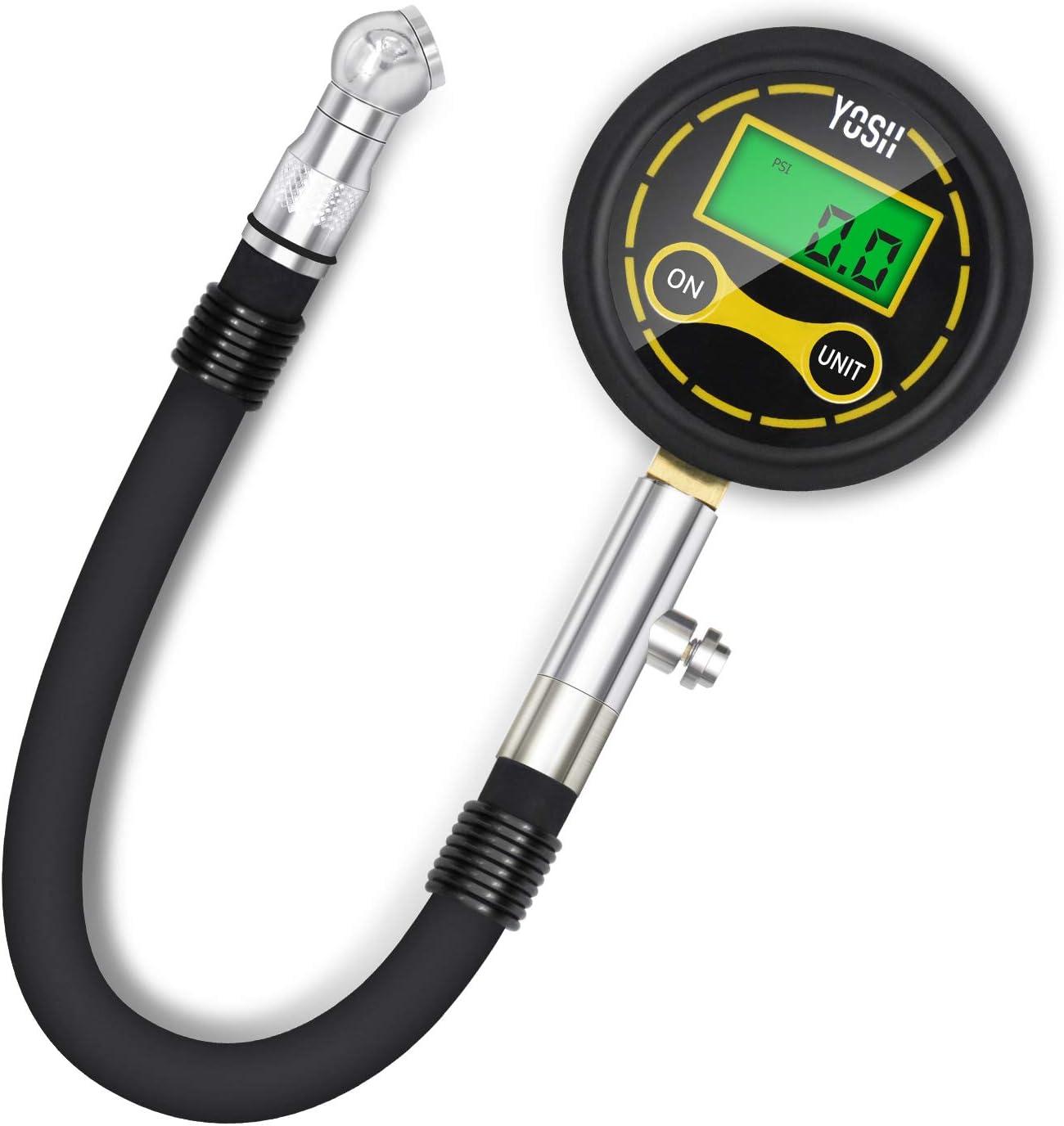 Black Backlit Digital Tire Pressure Gauge 0-200psi