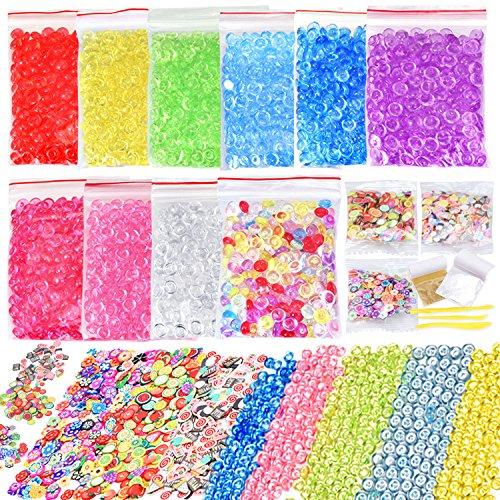 15 Pack Slime Making Kit Including 10 Color Fishbowl Beads,Imitation Gold Silver Leaf, Fruit Cake & Flower Slices and Slime Tools for Slime Making, Art DIY Craft (Slime (Gold Slice)