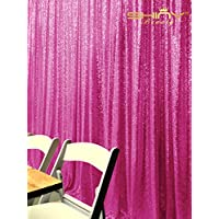 ShinyBeauty 4FTX6FT-Fuchsia-SEQUIN BACKDROP Shimmer Holiday Fabric Backdrops, Sequin Photography, Photo Booth Curtains (Fuchsia)