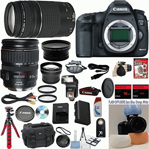 Canon EOS 5D Mark III 22.3 MP Full Frame CMOS Digital SLR Camera w/ Canon 28-135mm IS USM Lens Celltime Exclusive Bundle w/ Canon 75-300mm III Zoom Lens + 15pc Accessory Kit - International Version (Focusing Screen Set)