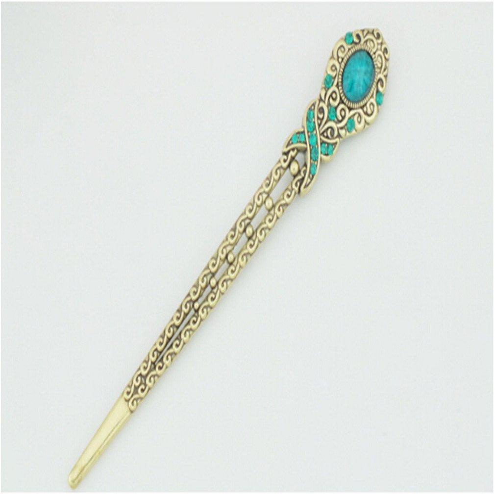 Dolland Vintage Rhinestone Gem Hair Stick Vintage Hair Chopsticks Hairpin Chignon Pin ,Peacock Blue