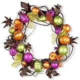 National Tree 20 Inch Halloween Wreath with Black Leaves, Colorful Glittered Pumpkins and Spider Ribbon (RAH-W060189)
