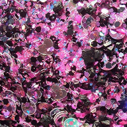 Custom & Fancy Approx 0.5 Teaspoons of Small Nail Art Glitter Made of Premium Mylar w/ Pretty Punk Princess Metallic Heart & Dot Shapes Sparkle Dust Mix Chunky Confetti Design (Princess Teaspoon)