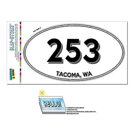 Area code oval sticker 253 washington wa anderson island university place tacoma