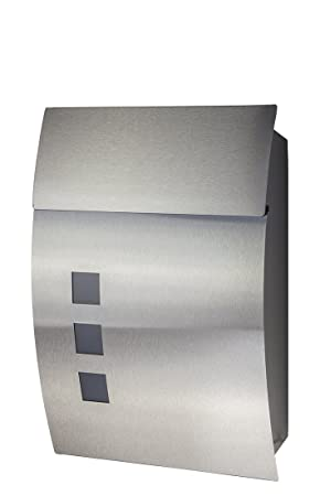 Fairpreis-Design - Buzón, acero inoxidable, modelo 444, con ventana y barniz protector: Amazon.es: Bricolaje y herramientas
