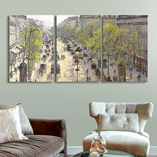 wall26 3 Panel World Famous Painting Reproduction on Canvas Wall Art - Boulevard Montmartre, Spring by Camille Pissarro - Modern Home Decor Ready to Hang - 24