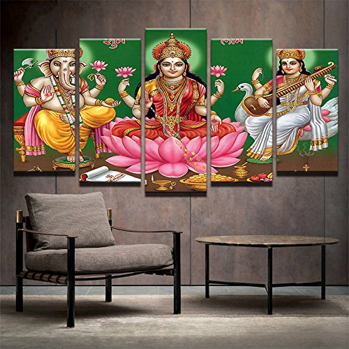 [LARGE] Premium Quality Canvas Printed Wall Art Poster 5 Pieces / 5 Pannel Wall Decor indian god Painting, Home Decor Pictures - With Wooden Frame