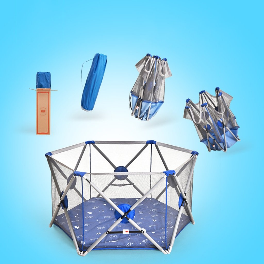 Fence infant play fence safety fence baby fence folding toddler fence baby indoor playground fence Activity & Entertainment Color : Blue, Size : 146 * 146 * 77cm