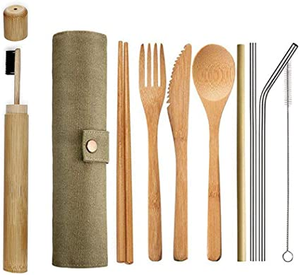 Ecológico Reutilizable Bambú Cubiertos Set,Portátil Madera Cubertería Ideal para Viaje,Fiambrera,Camping | ...