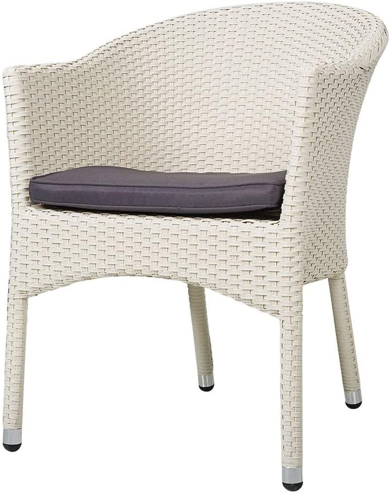 KARMAS PRODUCT Outdoor Dining Rattan Chairs Patio Garden Furniture with Seat Cushions,Weave Wicker Armchair 1 PC (White)