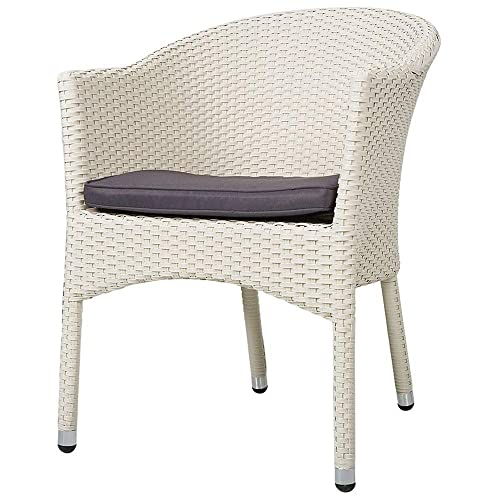 KARMAS PRODUCT Outdoor Dining Rattan Chairs Patio Garden Furniture with Seat Cushions,Weave Wicker Armchair 1 PC White
