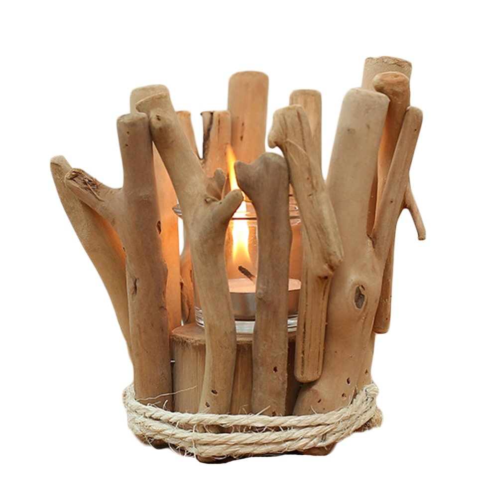 Icegrey Hand of Firewood Stand Decorative Table Standing CANDLE TEALIGHT Light Candle Candelabras 14x14x14cm Wood