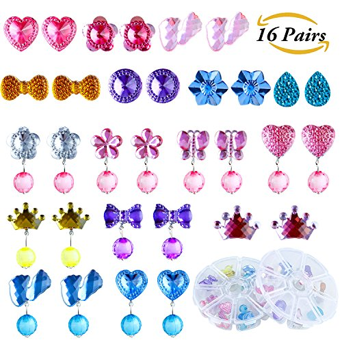 Top Aneco 16 Pairs Crystal Clip-on Girls Earrings Girls Play Earrings Princess Clip on Earrings Set for Party Favor Packed in 2 Clear Boxes supplier