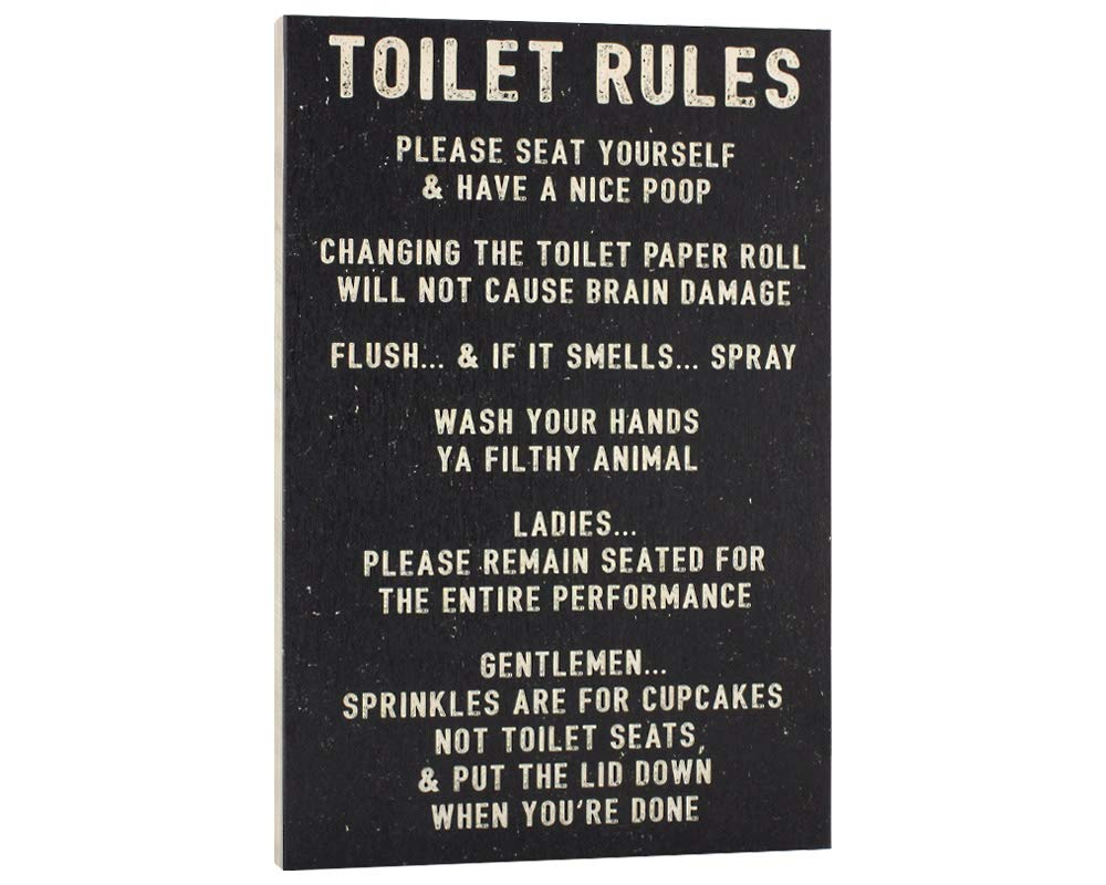 Elegant Signs Toilet Rules Sign Funny Bathroom Decor - Please Seat Yourself and Have a Nice Poop - Wash Your Hands Ya Filthy Animal by Elegant Signs