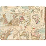 Creative Tops Everyday Home Atlas Map Cork Backed Placemats Table Mats, Set of 4, Multi-Colour