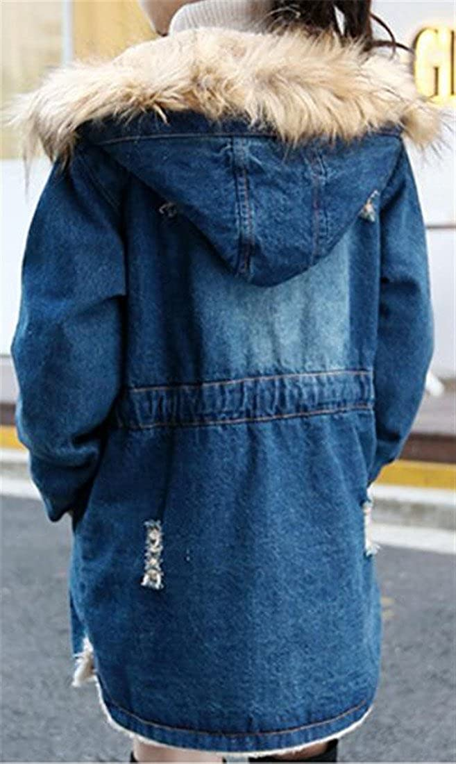 Sweatwater Girls Winter Fleece-Lined Faux Fur Hood Denim Jacket Coats