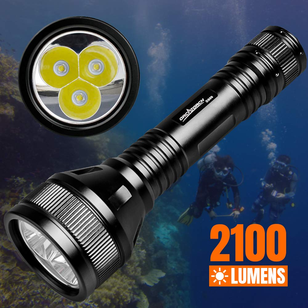 ORCATORCH D800 2100 Lumens Diving Main Light with 3 CREE LED, Powered by 2 26650 Batteries, Tail Rotary Switch, 150M Underwater, for Technical Diving, Wreck Diving, Cave Diving, Fishing by ORCATORCH